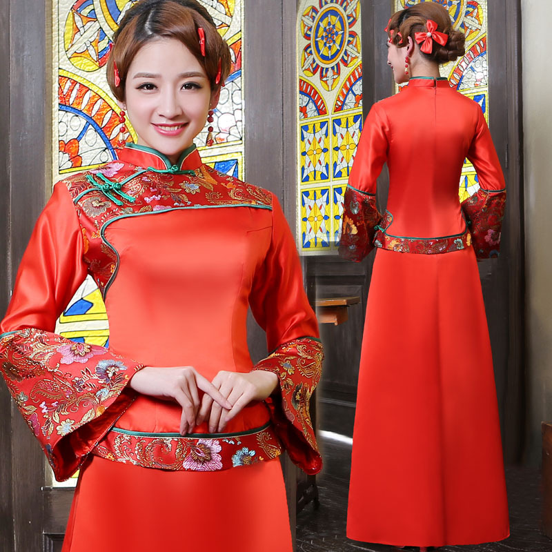 chinese traditional dress women antique dresses cheongsam chinese wedding bride gown red long sleeved clothing