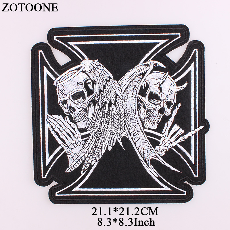 ZOTOONE Iron On Cross Skull Patch Embroidery Punk Biker Patches For Clothes Stickers Grim Reaper Rock Applique Sew on Acessorios