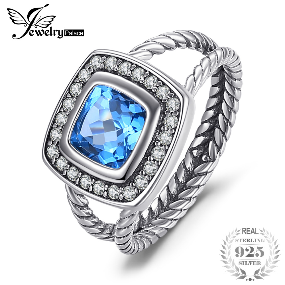 JewelryPalace Vintage 2.2ct Cushion Genuine Swis Blue Topaz Rope Halo Fine Ring 925 Sterling Silver Ring for Women Free Shipping