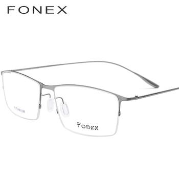 0a6c2ecfbc FONEX de aleación de titanio gafas hombres ultraligero Plaza miopía  prescripción gafas marco óptico coreano gafas 8101