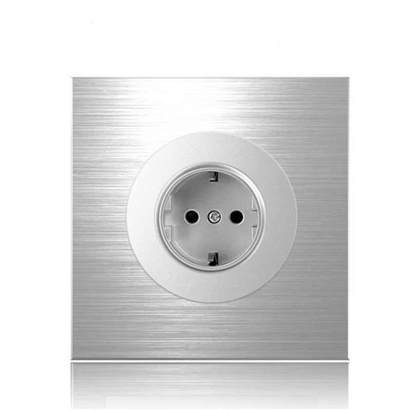 86type 1 2 3 4 gang 1 2way Silver aluminum alloy panel Switch socket Five hole Northern Europe Industry Germany UK France socket