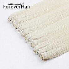 FOREVER HAIR 100 г/шт. 20 дюймов Натуральные Человеческие вплетаемые волосы Remy, Натуральные Прямые Волосы для наращивания, пучок уток, платиновый блонд, пряди