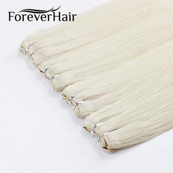 "FOREVER HAAR 100 G/stk 20 ""Echt Remy Human Hair Weave Natuurlijke Steil Haar Uitbreiding Bundel Inslag Platinum Blonde Kleur Bundels"