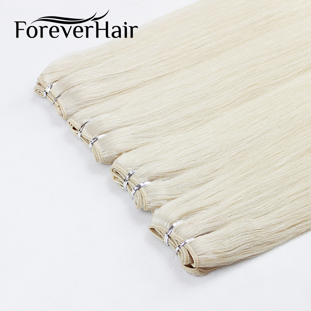 "FOREVER HAIR 100g/pc 20"" Real Remy Human Hair Weave Natural Straight Hair Extension Bundle Weft Platinum Blonde Color Bundles"