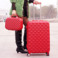 Wholesale!14 24inches abs pc  red travel trolley luggage bag of marriage picture box female universal wheels leather bags sets