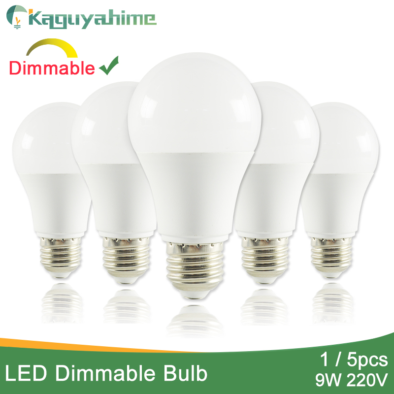 Kaguyahime 1pc/5pcs E14 E27 9W Dimmable High Bright E27 LED Lamp 220V LED Bulb LED Light Lampadas Lamparas Bombillas Ampoule 6w