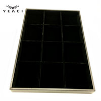 New Jewelry Display Case PU Leather Velvet Display Tray Necklace Rings Bracelets Shows Box 35 24
