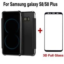 S8 Plus Clear зеркальной поверхности Флип Мобильный телефон Аксессуары чехол для Samsung Galaxy S8 плюс + 3D Защитный Флим черный