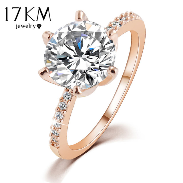 17KM Christmas Gift Silver Color Rose Gold Color Crystal Ring Jewelry Wedding Ri