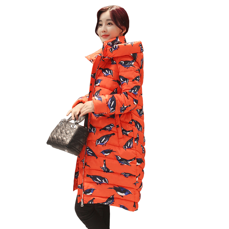 2017 Fashion Printing Winter Cotton Padded Jacket Women Slim Thick Print Coat Parka Warm Winter Long Jackets Ladies Overcoat z1 smooth ii 3 axis brushless handheld gimbal stabilizer for smartphone handheld within 6 5 screen