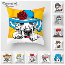 Fuwatacchi Cartoon Animals Cushion Cover Cute Cat Dog Owl Pillow Decorative Sofa Home Chair Yellow Horse Pillowcases
