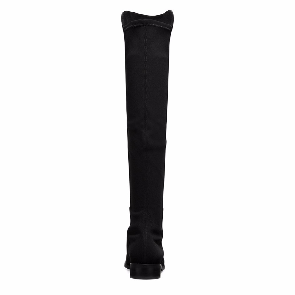 Blue Lycra Mixed Faux Suede Flat Woman Knee Boots Ladies Boots Round Toe Slip On Winter Keep Warm Long Boots With Stretching in Knee High Boots from Shoes