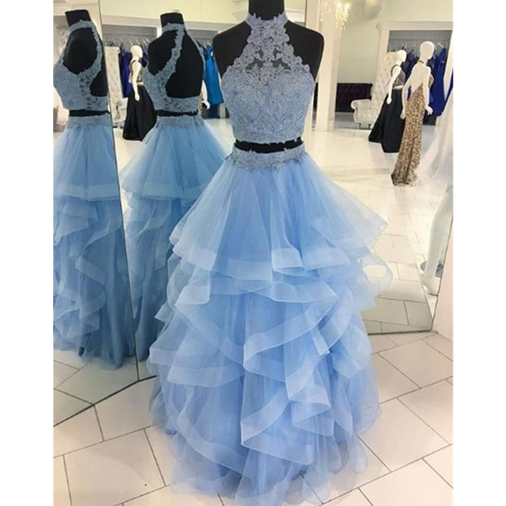 Mint Blue 2 Piece Tulle   Prom     Dresses   Backless High Neck Tiered Tulle Long Evening Gowns 2019 Custom Made Wedding Party   Dress