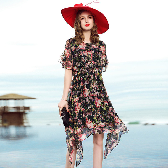L12HE1195 Europe and America High-end Women's Clothing Two pieces 100% Silk Dress Irregularly Chiffon Print Dress