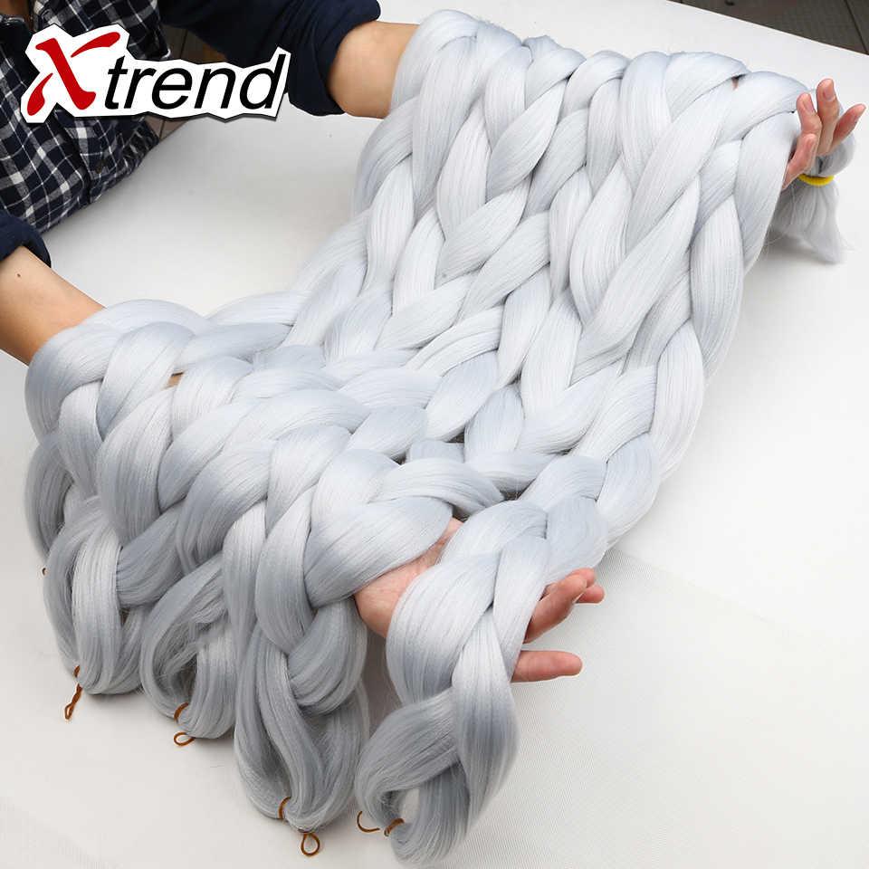 Xtrend пучки кос-жгутов волос 42 дюйма 165 г косы с крючком Твист синтетические плетеные волосы черный блонд розовый фиолетовый серый