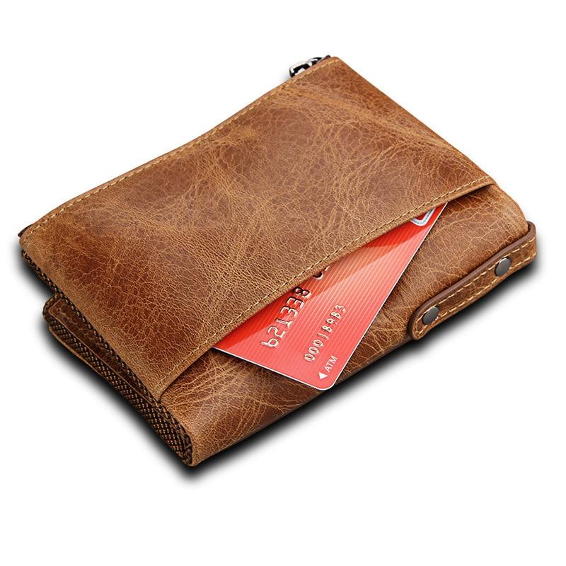 FSINNLV Genuine Leather purse Portomonee Clutch RFID wallet for women Double Zipper Bifold Wallet Coin Purse Card Holder HB53G