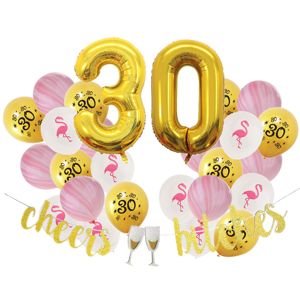 ZLJQ 30th Birthday Decoration Party Supplies Foil Balloons Number 3 0 Old Year Happy Black Pink Gold Balloon Banner In Ballons Accessories From