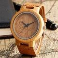 Madera de bambú Fresco Minimalista Cabeza de Ciervo Genuina Banda de Cuero Correa Naturaleza Madera Brazalete Reloj de Pulsera Unisex Reloj Hombre Reloj