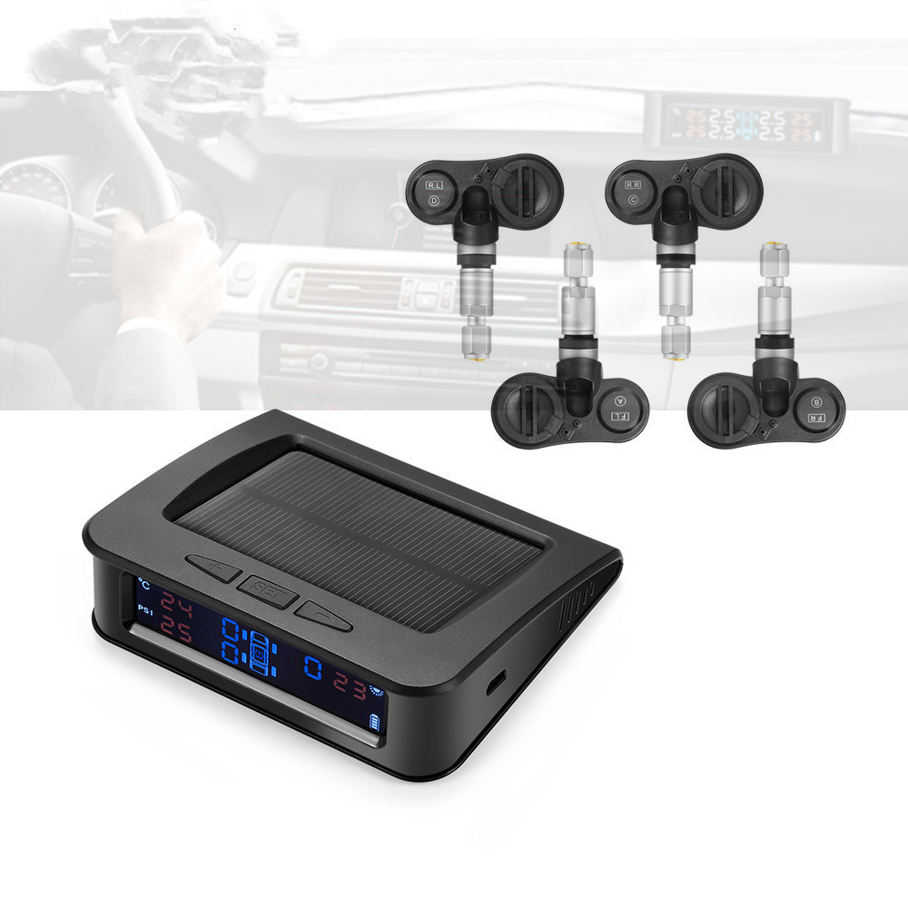 <font><b>C220</b></font> Car Tire Pressure Monitor System Solar Power <font><b>TPMS</b></font> Tire Data Detector Internal/External Sensors Security Alarm System image