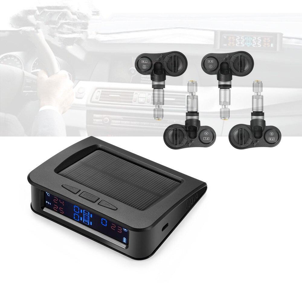 C220 Car Tire Pressure Monitor System Solar Power TPMS Tire Data Detector Internal/External Sensors Security Alarm System стоимость