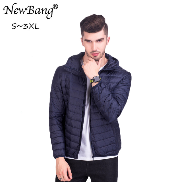 f793c2e9f34 NewBang Brand Down Coat Male Hooded Ultra Light Down Jacket Men Feather  Parka Lightweight Jackets White Duck Down Coat Plus