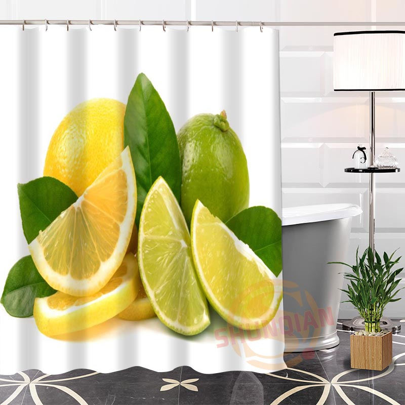 Eco-friendly Custom Unique lemon Fabric Modern Shower Curtain bathroom Waterproof for yourself H0220-40