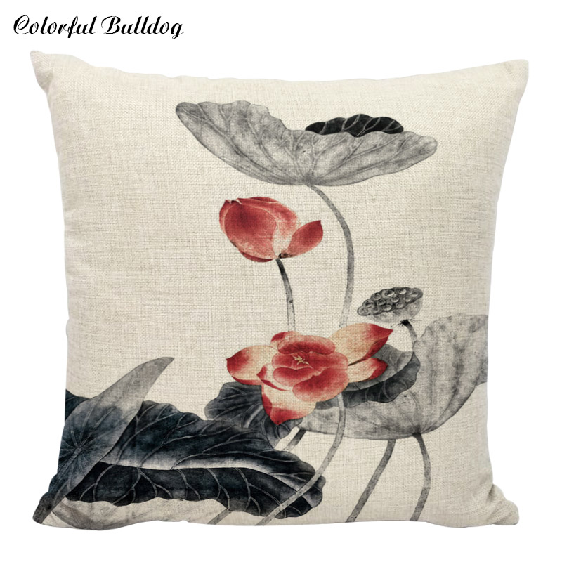 Home Decorative Modern Black Cushion Cover Linen Cotton Throw Pillow Case Red Blue Flower Cojines For Office Car Seat Almofada