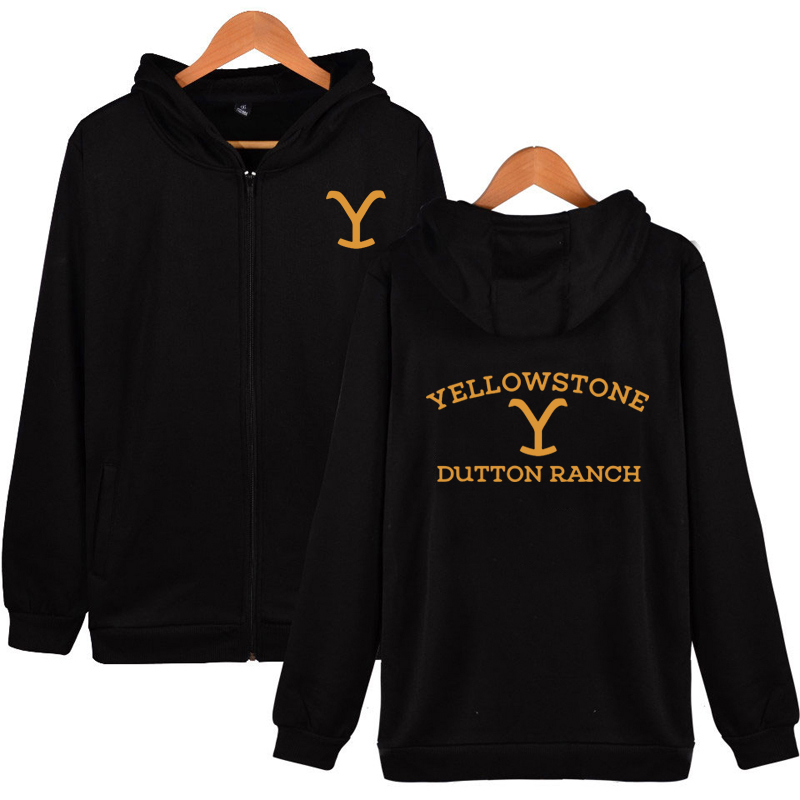 Kevin Costner Tv Série Dutton RANCHO Zipper Moletom Com Capuz Zip Up Hoodie Yellowstone Yellowstone Wyoming e Montana Vaca Meninos Do Hoodie