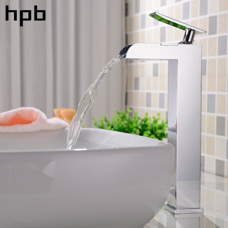 HPB Tall Bathroom Waterfall Basin Faucet Sink Mixer Tap Hot Single Handle And Cold Water Brass Chrome Square Style HP3116 2016 hot sale chrome finishing 360 degree rotate brass single lever water tap bathroom sink mixer basin faucet