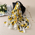 2017 summer Lemon Scarf Luxury Brand Women Cute Oversize Pure Silk Scarves Bandana Female Foulard Big Long Shawl Fashion Brand