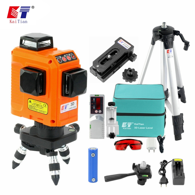 KaiTian 12Lines 3D Laser Level Tripod Receiver with 2500 mah Battery Horizontal and Vertical Lines Work