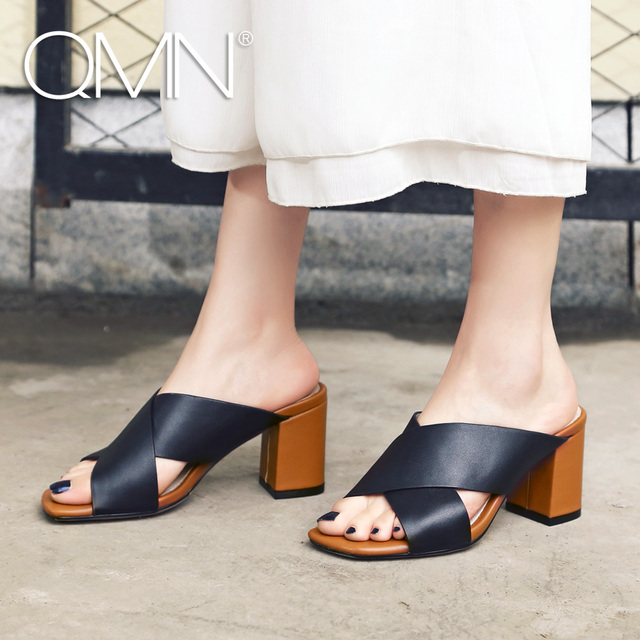 91779f4b1fc97 QMN women genuine leather summer slippers Women Open Toe Block Heels Mules  Slip On Leisure Shoes Woman Leather Slides 34-40
