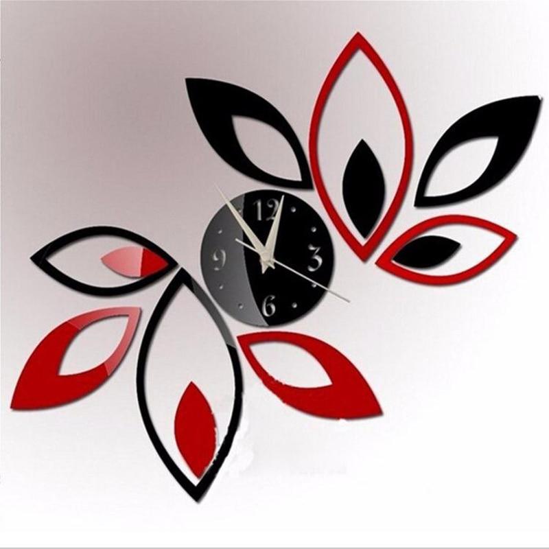 Venta caliente diy acrílico espejo reloj de pared pegatinas decoración moderna s