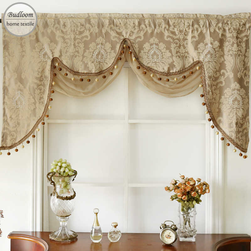 Budloom luxury golden European style jacquard fringed window valance with  attached sheer swag valance curtains for living room