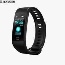 SENBONO Bluetooth Y5 קצב לב לחץ דם חמצן ניטור חכם להקת שעון צמיד כושר גשש חכם להקת רוסית