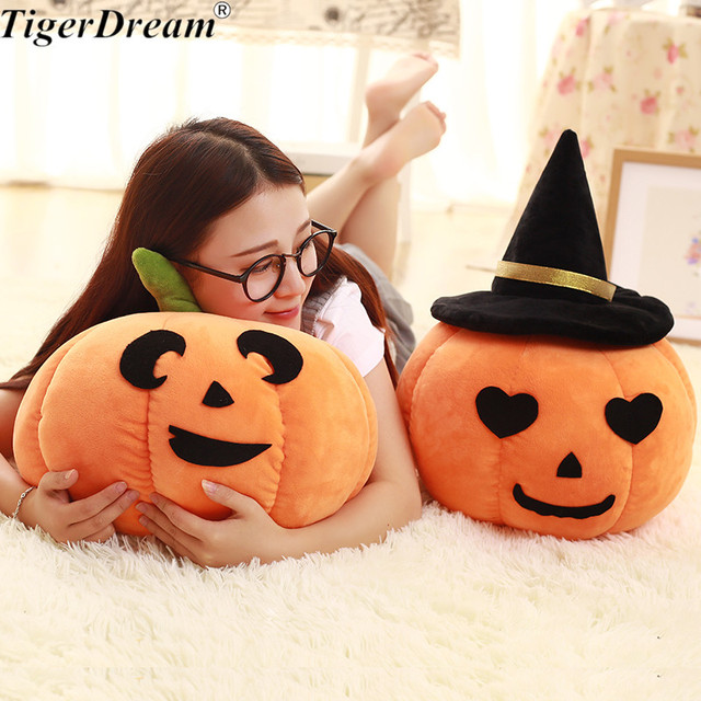 6d3e9d194c8 Halloween Soft Pumpkin With Hat Toy Sleeping Pillows PP Cotton Stuffed  Cushions Children s Room Decoration Kids Toys