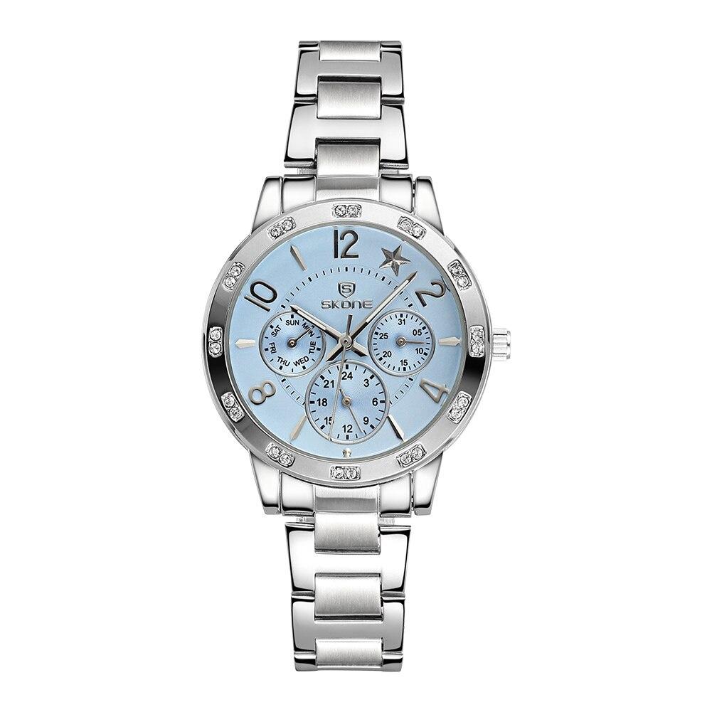 ФОТО SKONE Fashion Luxury New Brand Full Steel Real 3 Eyes Luminous Quartz Women Dress Watch