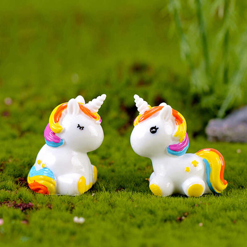 1 pcs Resina Big Size Bonito Unicórnio Animal Dos Desenhos Animados Estatueta Estátua Em Miniatura DIY Modelo Figura Toy Kids