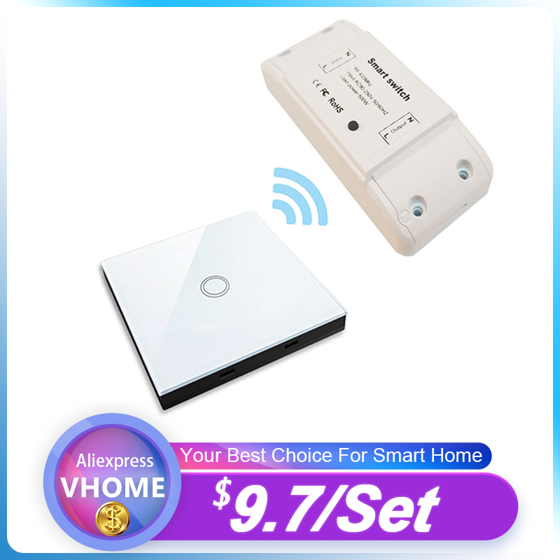 VHome Smart Remote Control Touch Switch RF 433MHz Relay Receiver AC Power 90v-250v 5A Wireless LED Light Switch Transmitter