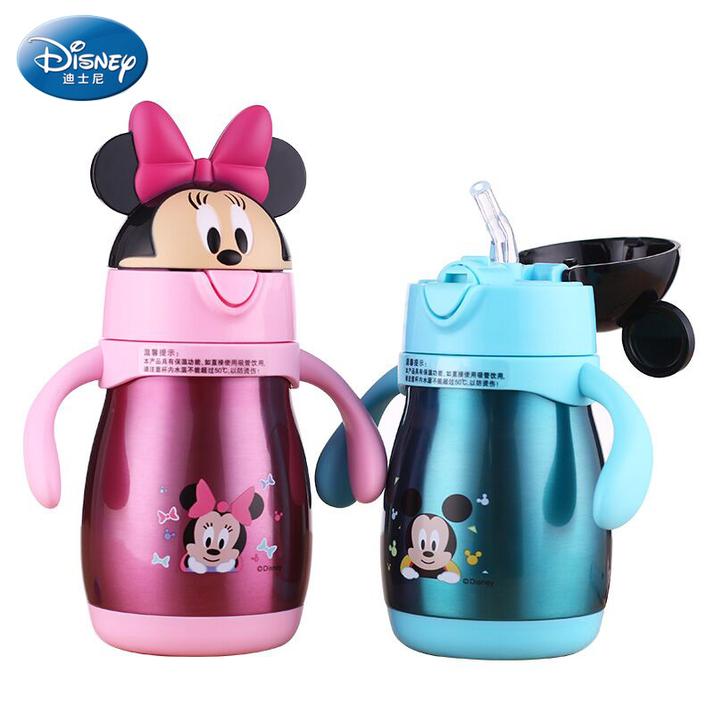 Disney GX-5947 Baby Feeding Cup with Straw Stainless Steel Insulation Learn Drinking Cup Thermal Bottle Leak-poof Kettle 240ML 240ml baby drinking water bottle cups with straw portable feeding bottle cartoon water feeding cup with the handle for baby hot