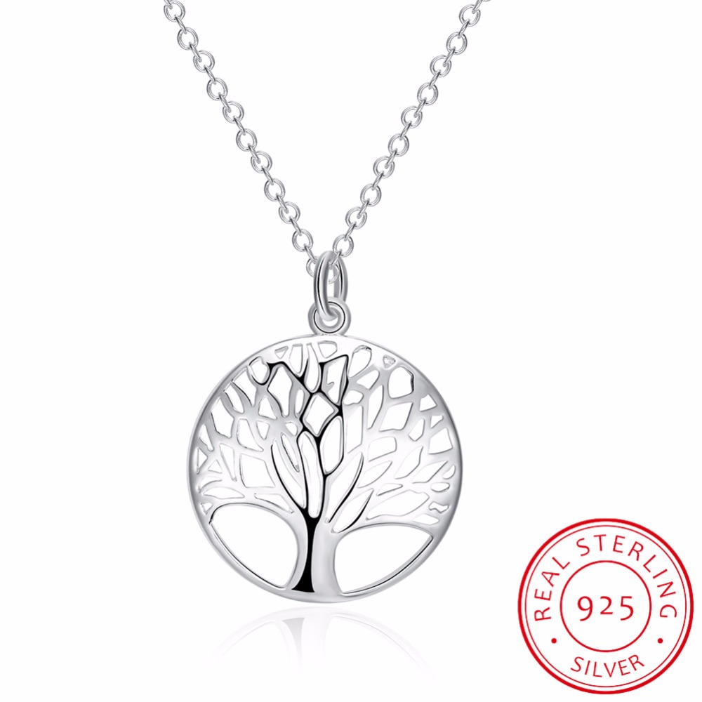 LEKANI Fine Jewelry Tree of Life Pendants Necklaces 925 Sterling Silver Necklace Women Men Jewelry Charm Gift For Family Girl