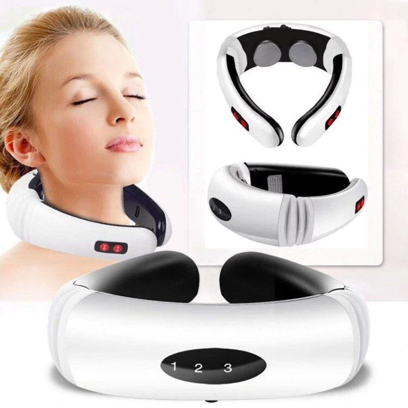 Rechargable Electric Pulse Neck Massager Cervical Vertebra Massage Physiotherapeutic Acupuncture Magnetic Therapy Tool Kit/Set