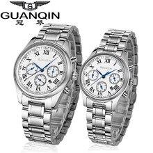 Элитный бренд GUANQIN Часы для влюбленной пары сапфир любит Часы 2018 Водонепроницаемый пары смотреть пара Кварцевые наручные часы