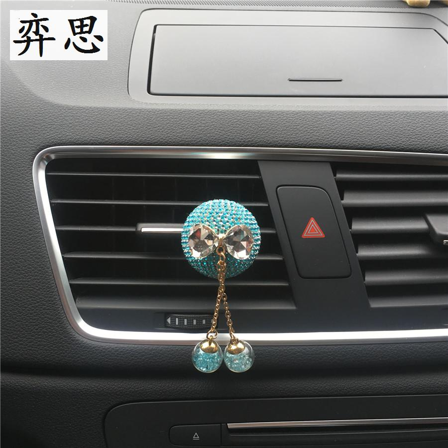 Exquisite diamond ball bow tie car perfume Ladies car styling Seven colored diamond round decorative perfume car air freshener