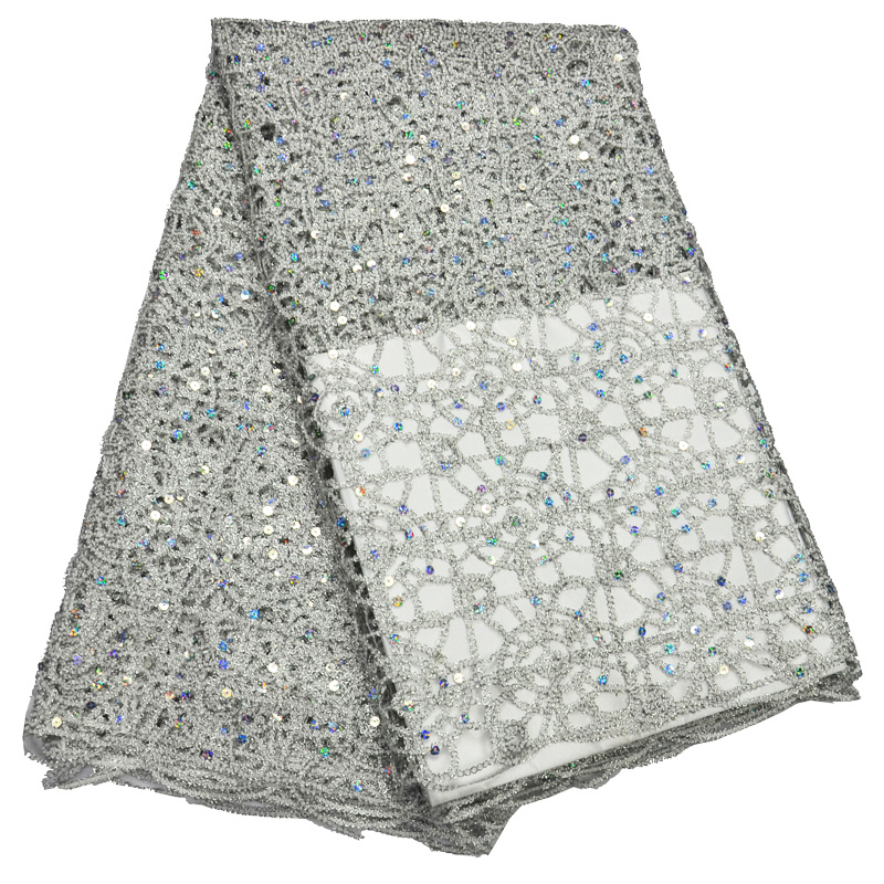 Free shipping (5yards/pc) high quality silver white African big cord lace fabric with chains design and sequins for dress WLP864Free shipping (5yards/pc) high quality silver white African big cord lace fabric with chains design and sequins for dress WLP864