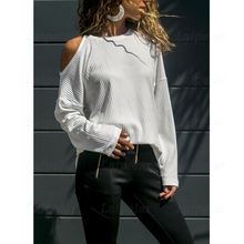 2018 Sexy Cold Shoulder Women Tops Autumn Winter Long Sleeve Casual Basci Shirt Hollow Out Ladies Tees Laipelar