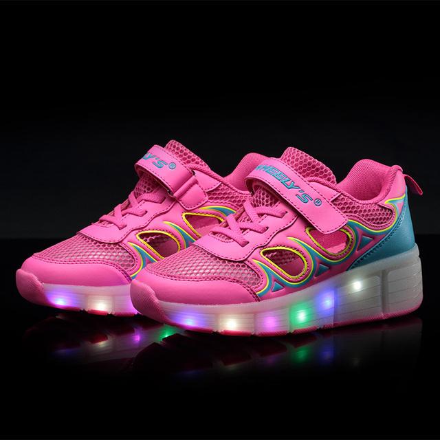 Jazzy júnior verão meninas/meninos led luz patins crianças shoes crianças sapatilhas com rodas simples