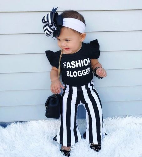 2 Pieces Ruffled Short Sleeve Fashion Blogger Top And Stripe Pant Set For Toddler Girls Clothes