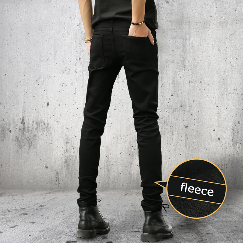 Top quality 2018 Fashion Little feet pants jeans mens elastic youth Solid thicken and thin Fleece mens teenagers trousers