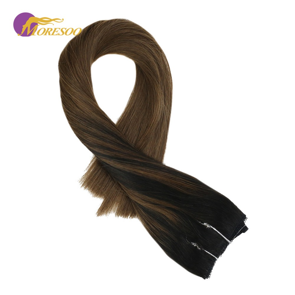 Moresoo Flip In Real Remy Human Hair Extensions Balayage Color Off Black #1B Mixed With Brown #8 Fishing Line Halo Hair 50-100G